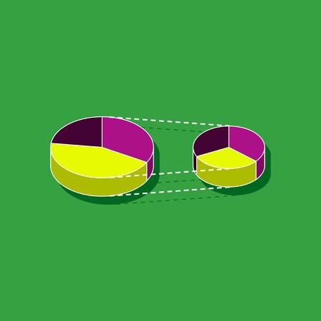 paper sticker on stylish background Pie chart Illustration