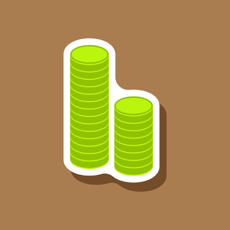 paper sticker on stylish background Stacks of coins