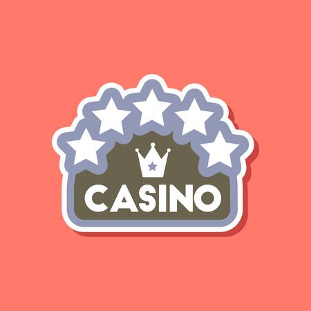 paper sticker on stylish background casino sign