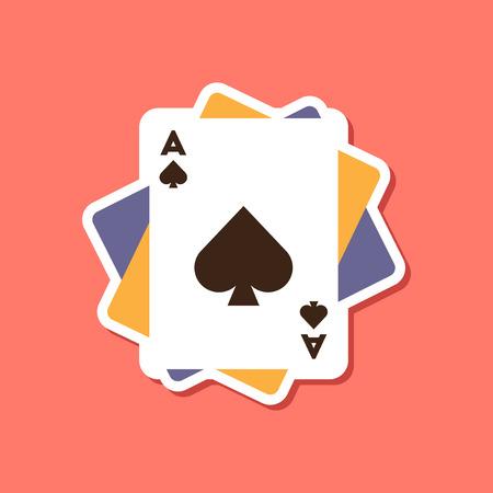 papieren sticker op stijlvolle achtergrond poker speelkaarten