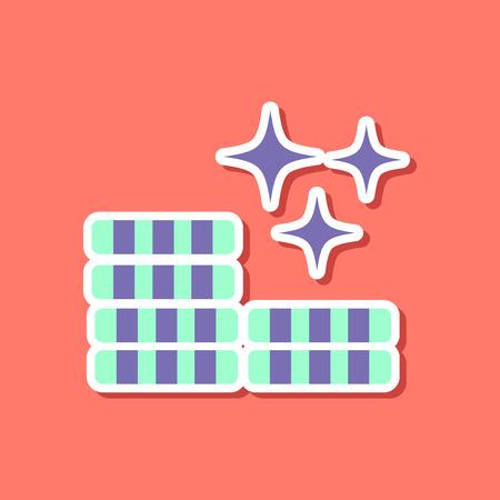 paper sticker on stylish background poker chips