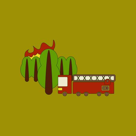 flat icon on background Forest fire truck