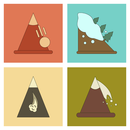 slopes: assembly flat icons mountains snow avalanche Illustration