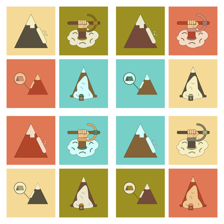 An assembly flat icons of mountains snow avalanche. Illustration