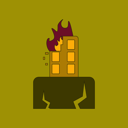 collapse: A flat icon stylish background natural disaster earthquake.