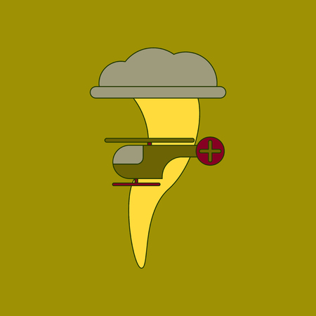 A flat icon stylish background tornado helicopter.