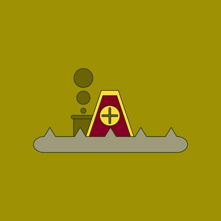 A flat icon stylish background flood house.