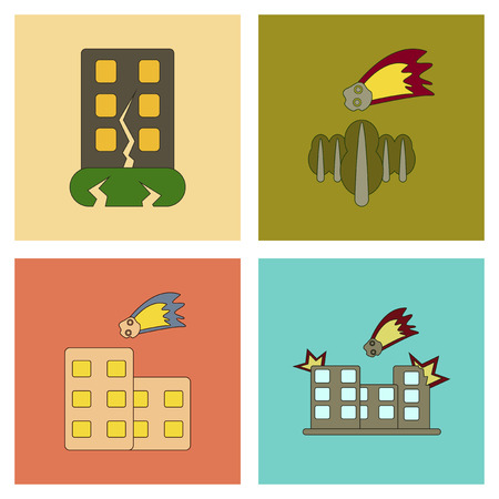 An assembly flat icons natural disasters.