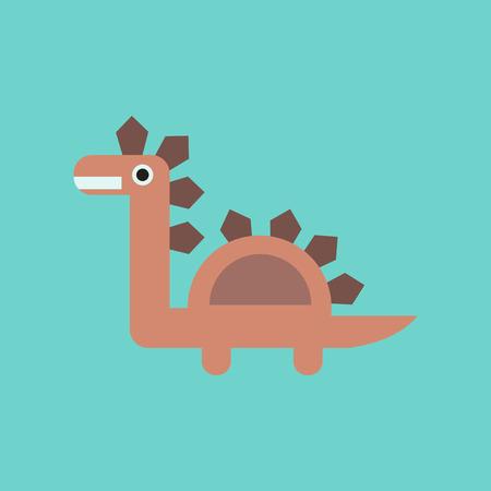 A flat icon on background cartoon dinosaur.