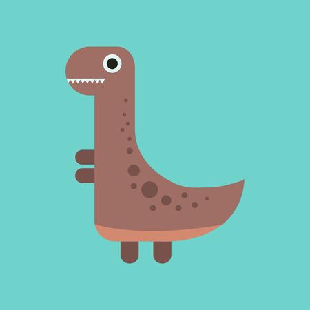 flat icon on background cartoon dinosaur