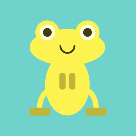 Flat icon on background Cute frog cartoon illustration.