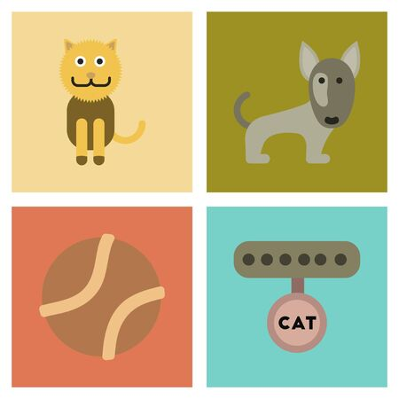 An assembly flat icons pets and accessories.