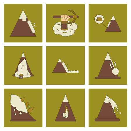 A set assembly flat icons mountains snow avalanche. Çizim