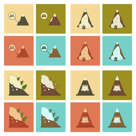 A set assembly flat icons mountains snow avalanche. Ilustrace