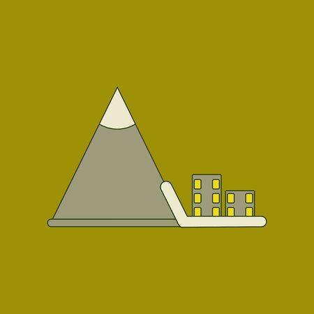 A flat icon stylish background Mountain avalanche house. Illustration