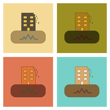 collapse: An assembly flat icons natural disaster earthquake. Illustration