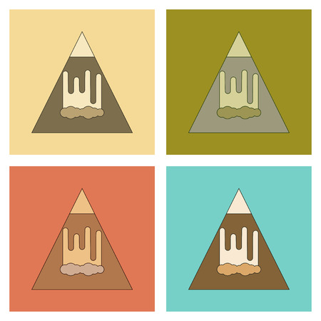 Assembly flat icons mountain avalanche. Illustration
