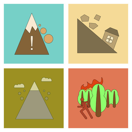rockfall: Assembly flat icons natural disasters. Illustration