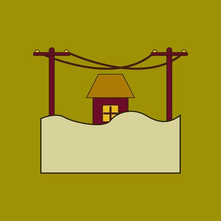 Flat icon stylish background flood house. Illustration