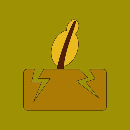 flat earth: flat icon stylish background natural disaster earthquake Illustration