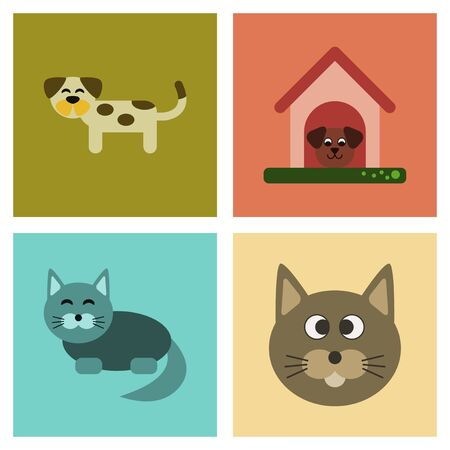Set of assembly flat icons dog and cats pets.