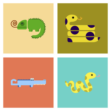 Set of assembly flat icons exotic wild reptiles.