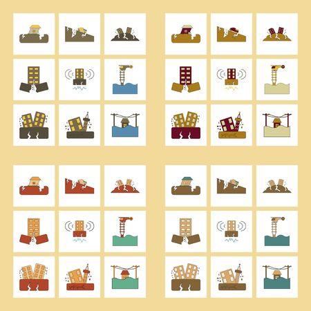 Assemblage d'icônes plates secousse et tremblement de terre Banque d'images - 81387858