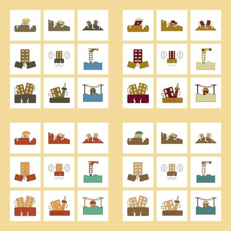 assembly flat icons disaster earthquake and flood Illustration