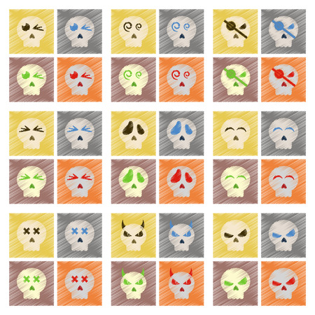 paranormal: assembly flat shading style icons halloween emotion skull Illustration