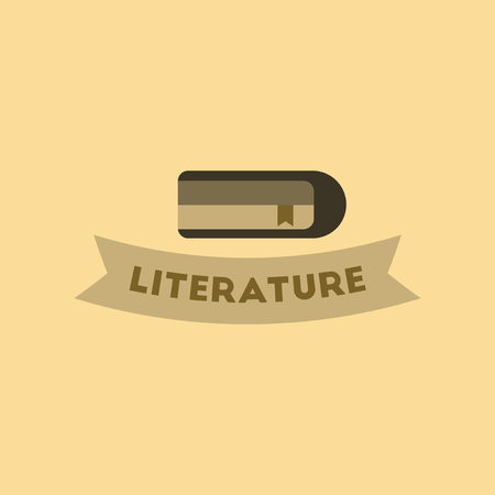Flat icon on background Literature lesson.