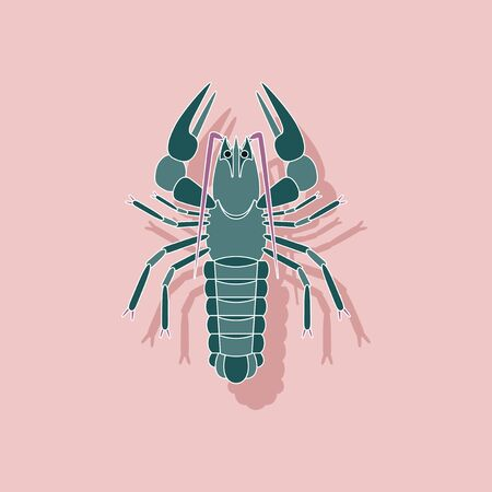 A paper sticker on background of lobster.