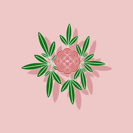 Paper sticker on a background of flower paeonia. Illustration