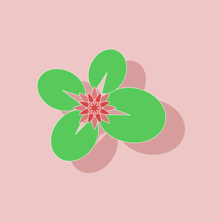 A paper sticker on background of water lily. Illustration
