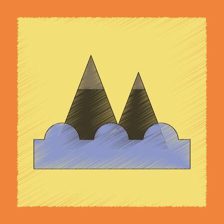 A flat shading style icon tsunami mountains.