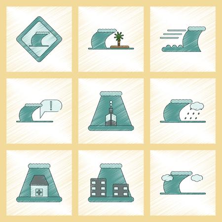 assembly flat shading style icon nature disaster tsunami Illustration