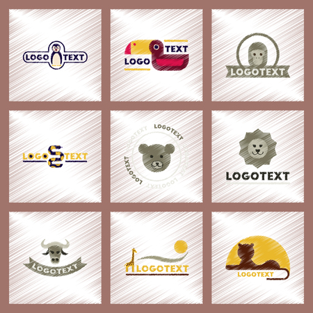 bull snake: assembly flat shading style icons logo bear lion giraffe penguin snake monkey bird bull
