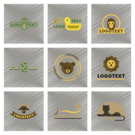 assembly flat shading style icons logo bear lion giraffe penguin snake monkey bird bull Stock Vector - 81473385