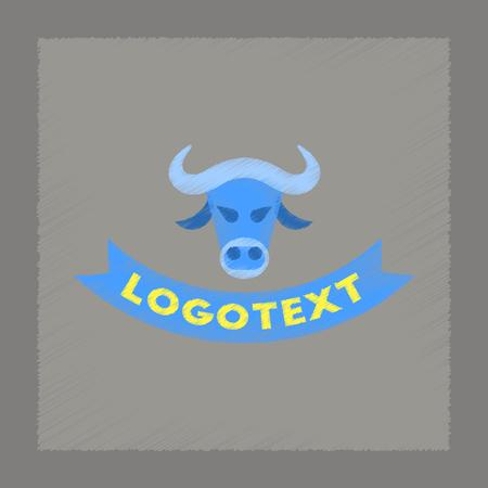 flat shading style icon bull logo Illustration