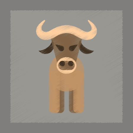 flat shading style icon cartoon bull