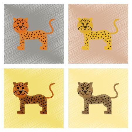 assembly flat shading style icons cartoon leopard