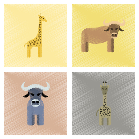 Assembly flat shading style icons giraffe bull.
