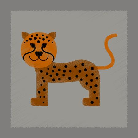 Flat shading style icon cartoon illustration of leopard.