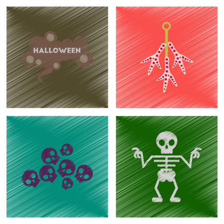 assembly flat shading style icons halloween skeleton sign chicken feet skulls