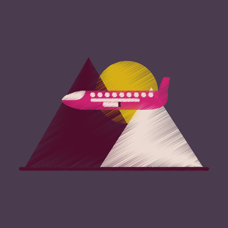 analogy: Flat Icon in Shading Style Plane in the mountains Illustration