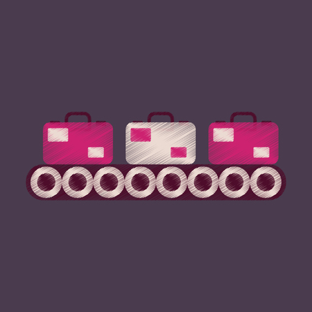 Flat Icon in Shading Style Baggage claim Illustration