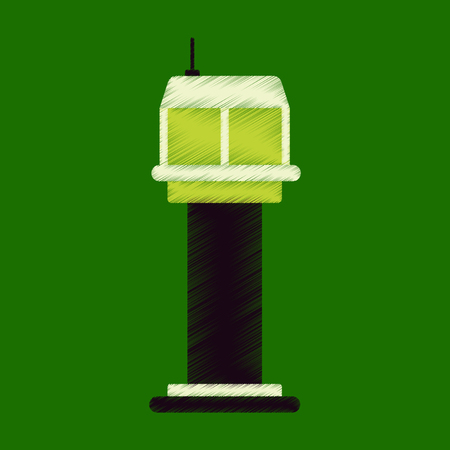 traffic controller: Flat Icon in Shading Style airport control tower Illustration