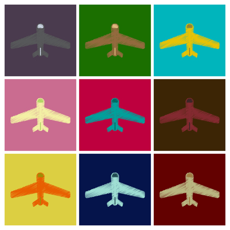 fuselage: Set of Flat Icons in Shading Style aircraft