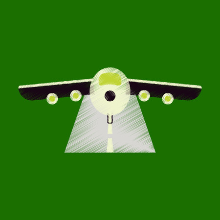 Flat Icon in Shading Style airplane runway Illustration