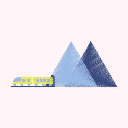 highspeed: Flat Icon in Shading Style mountain train