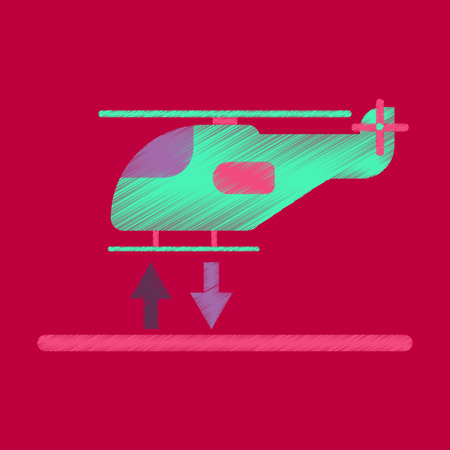 Flat Icon in Shading Style Helicopter landing Фото со стока - 81389449